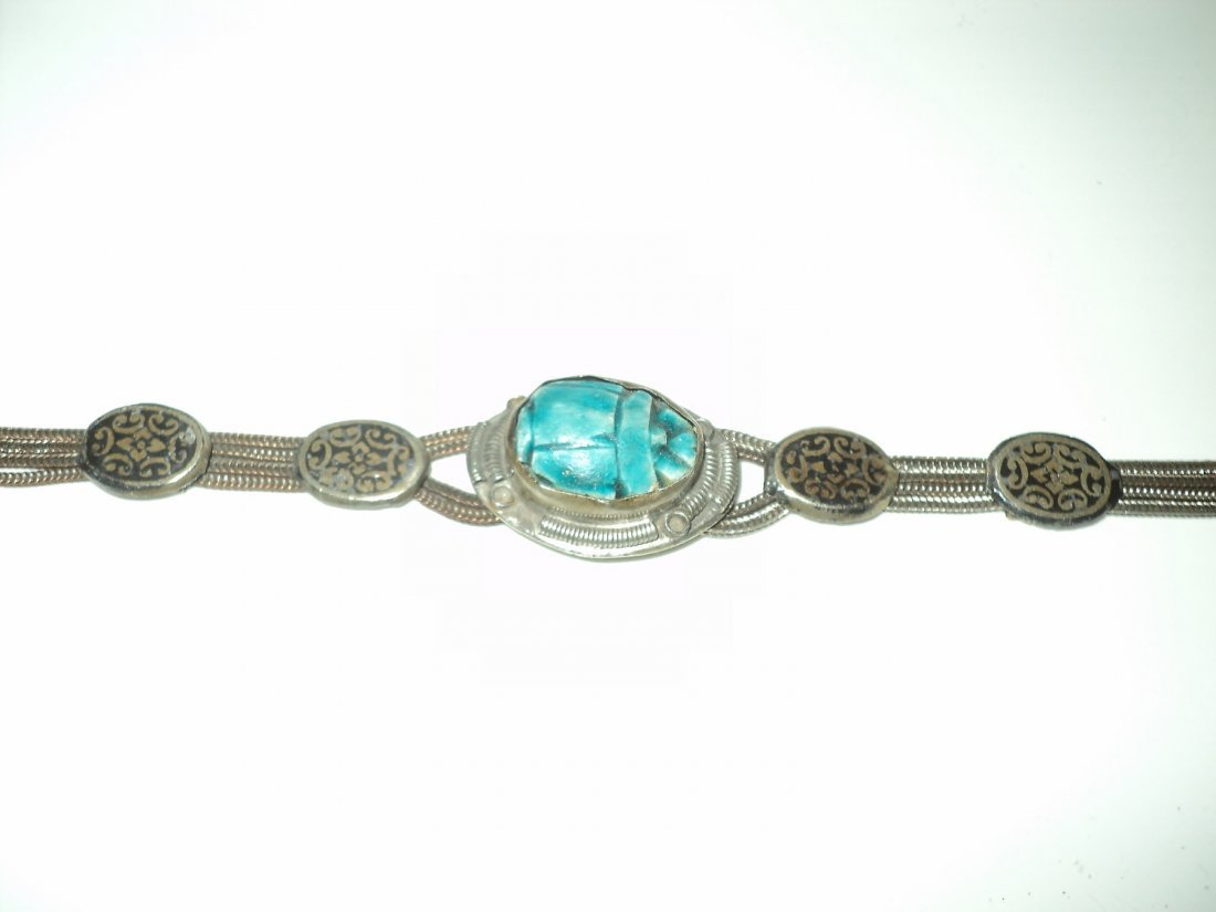1940 Old Silver Scarab Bracelet Embossed Filigree