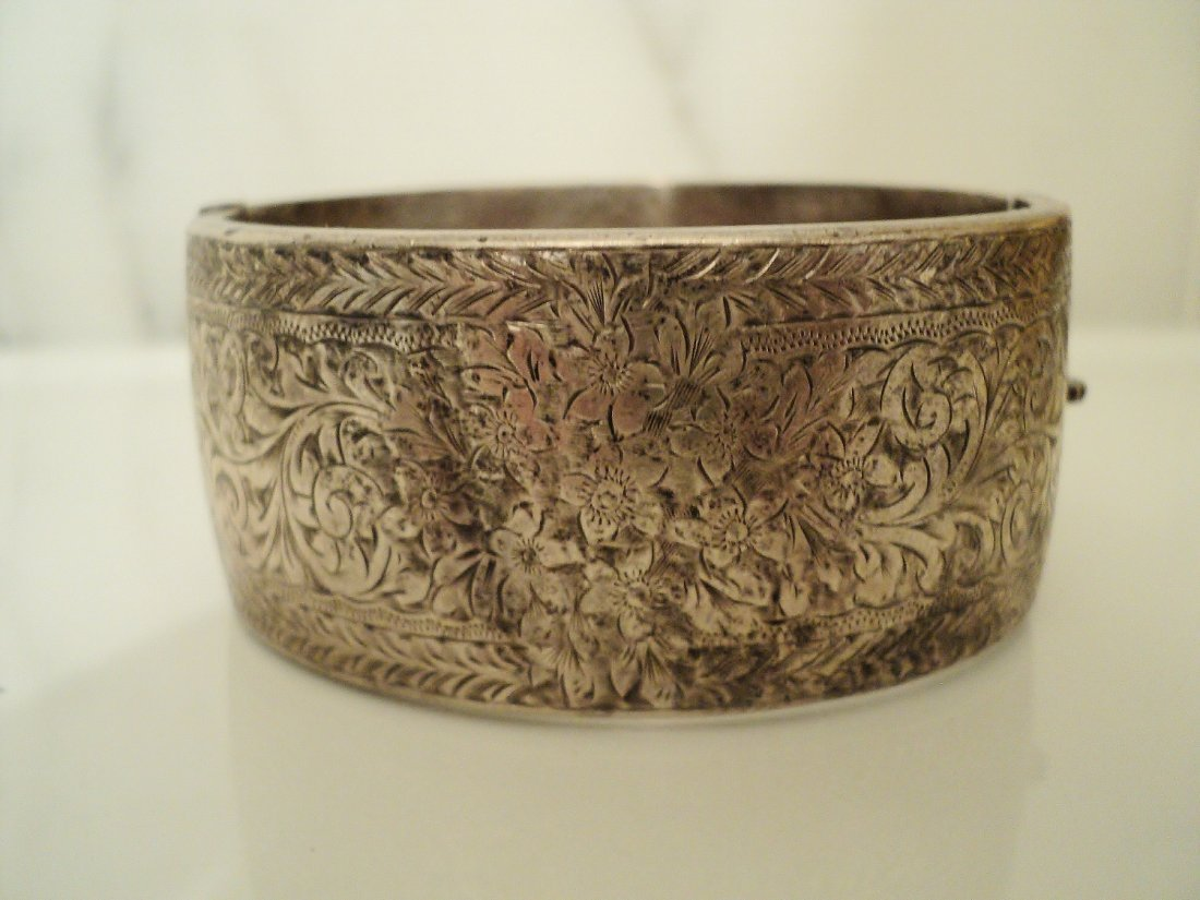 Antique 1900 Carved Silver Wide Bangle England