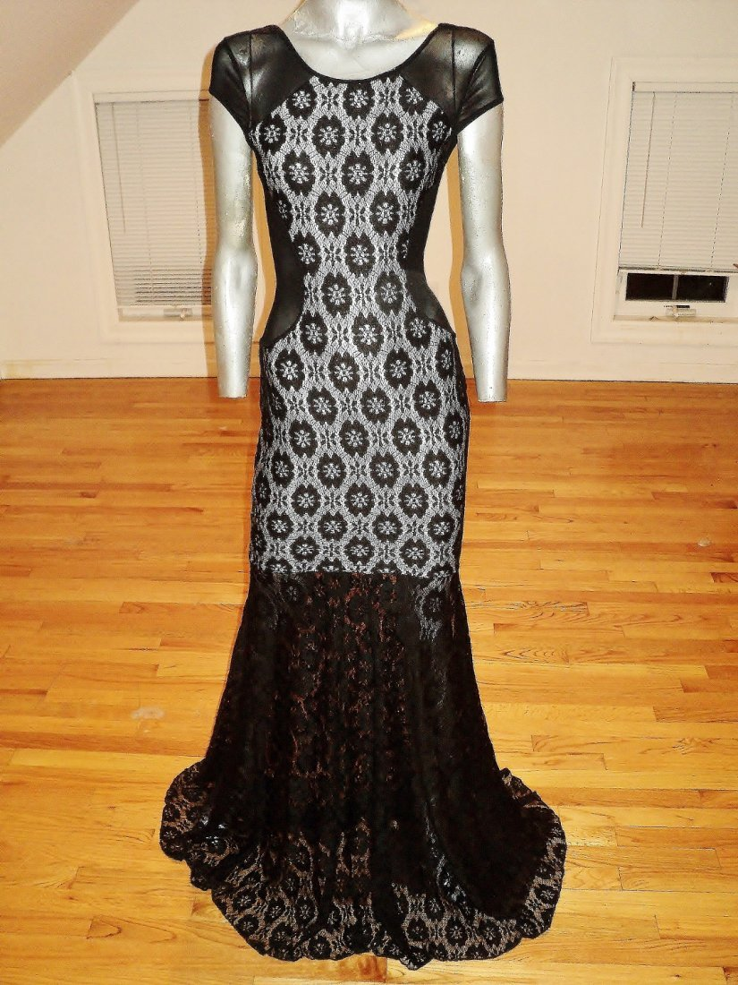 French Designer Lace Gown Trumpet Sweep Illusion Neck