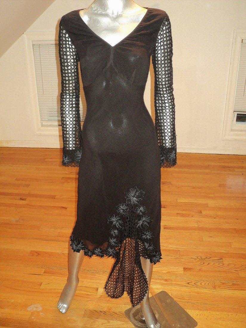 Catherine Malandrino Silk Pointelle High Low Dress