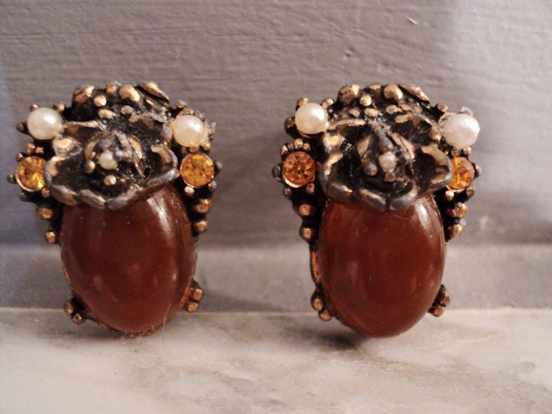 1930 Antique Earrings Sterling Citrine Amber Filigree