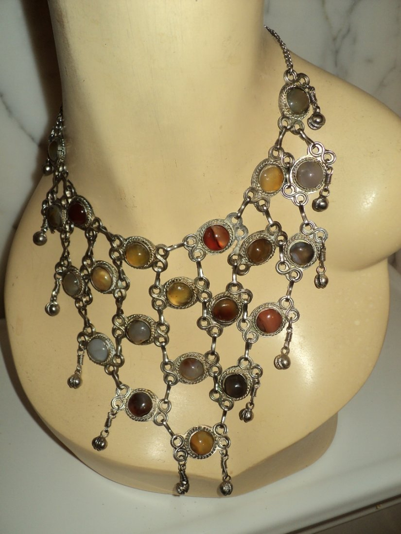 1950 Cluster Necklace Boho Old Silver Metal Stones
