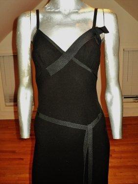 Prada Black Label Crepe Jersey Gown Grosgrain Ribbons