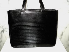 Bonini Italy 1960 Striped Leather Kelly Style Handbag