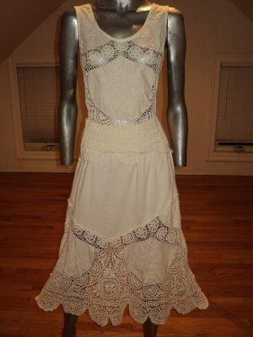 Vintage Embroidered Crochet Skirt Ensemble Cotton Linen