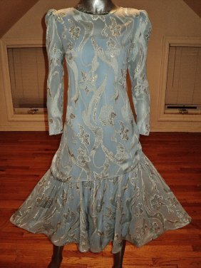 Vintage Flapper Gold Lame Embossed Lurex Dress Layered