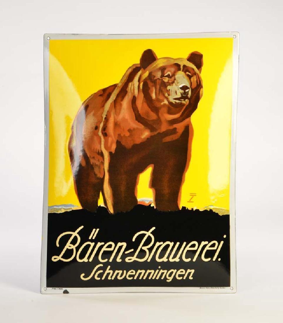 "Emailleschild ""Baeren Brauerei Schwenningen"""