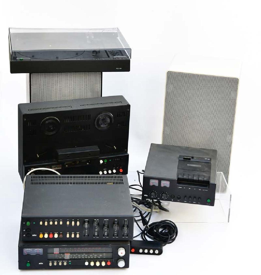 Braun, Anlage mit 4 Boxen, Tonband + Plattenspieler