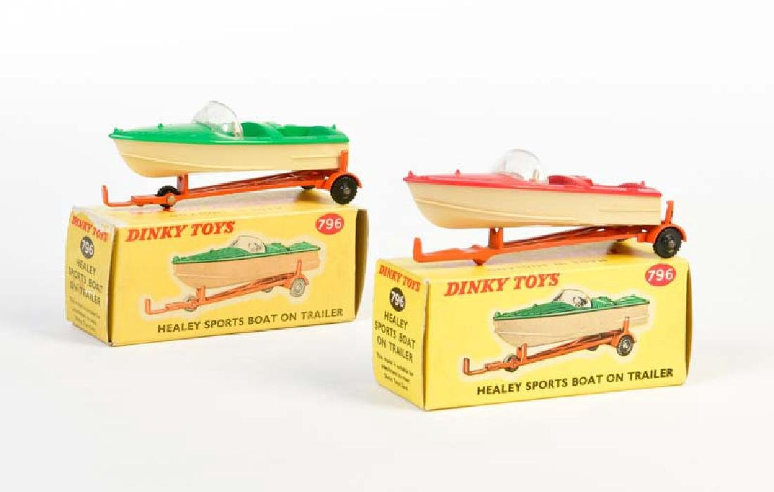 Dinky Toys, 2x Healy Sports Boat on Trailer 796