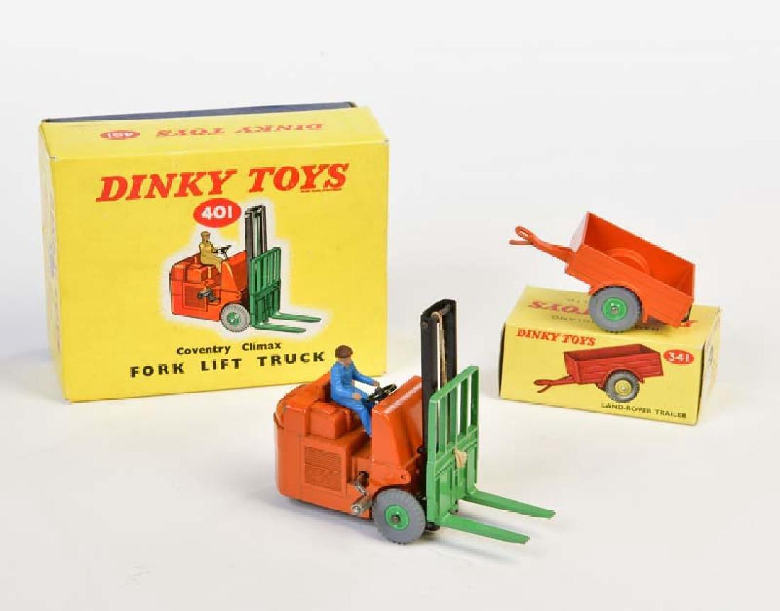 Dinky Toys, Fork Lift Truck + Trailer 401 + 341