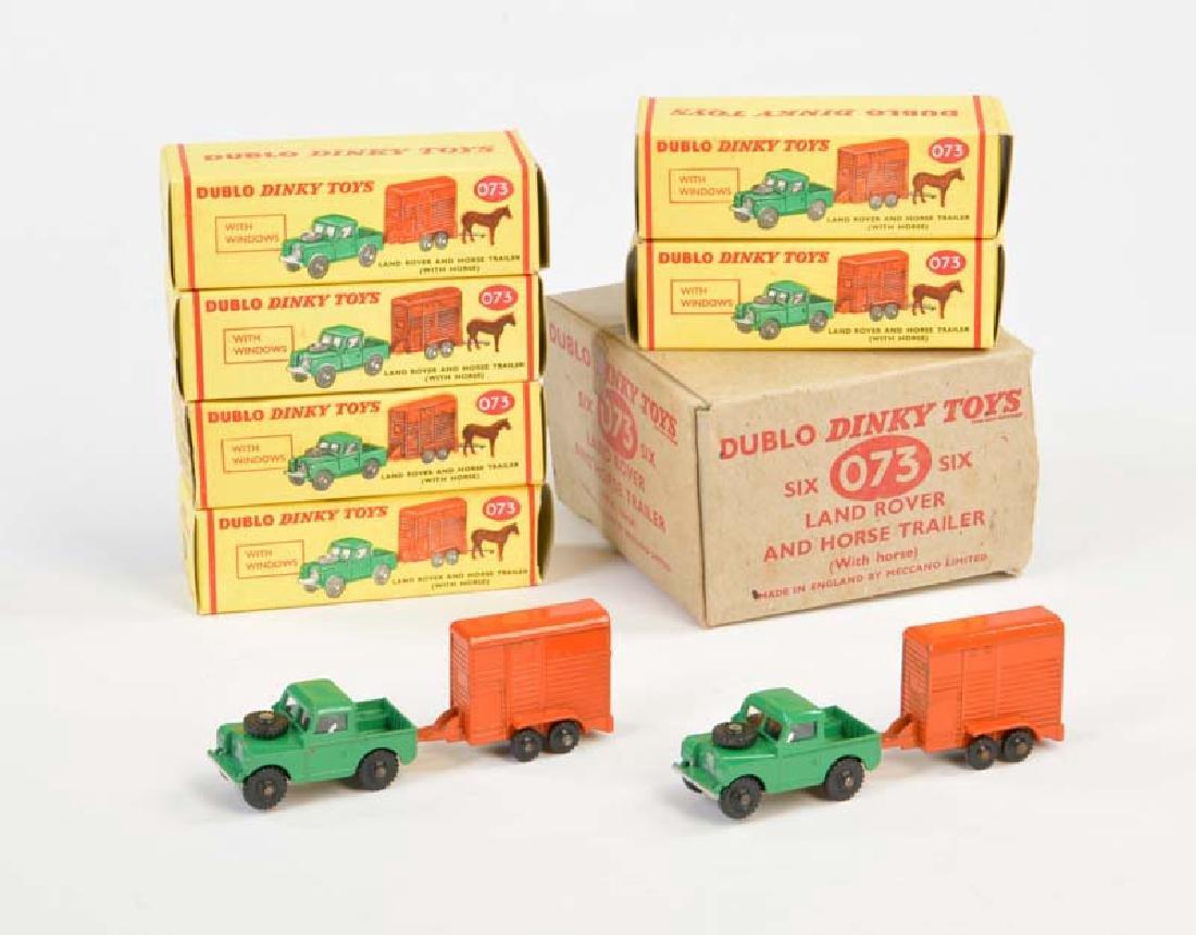 Dinky Toys Dublo, 4x 073 Land Rover + Horse Trailer