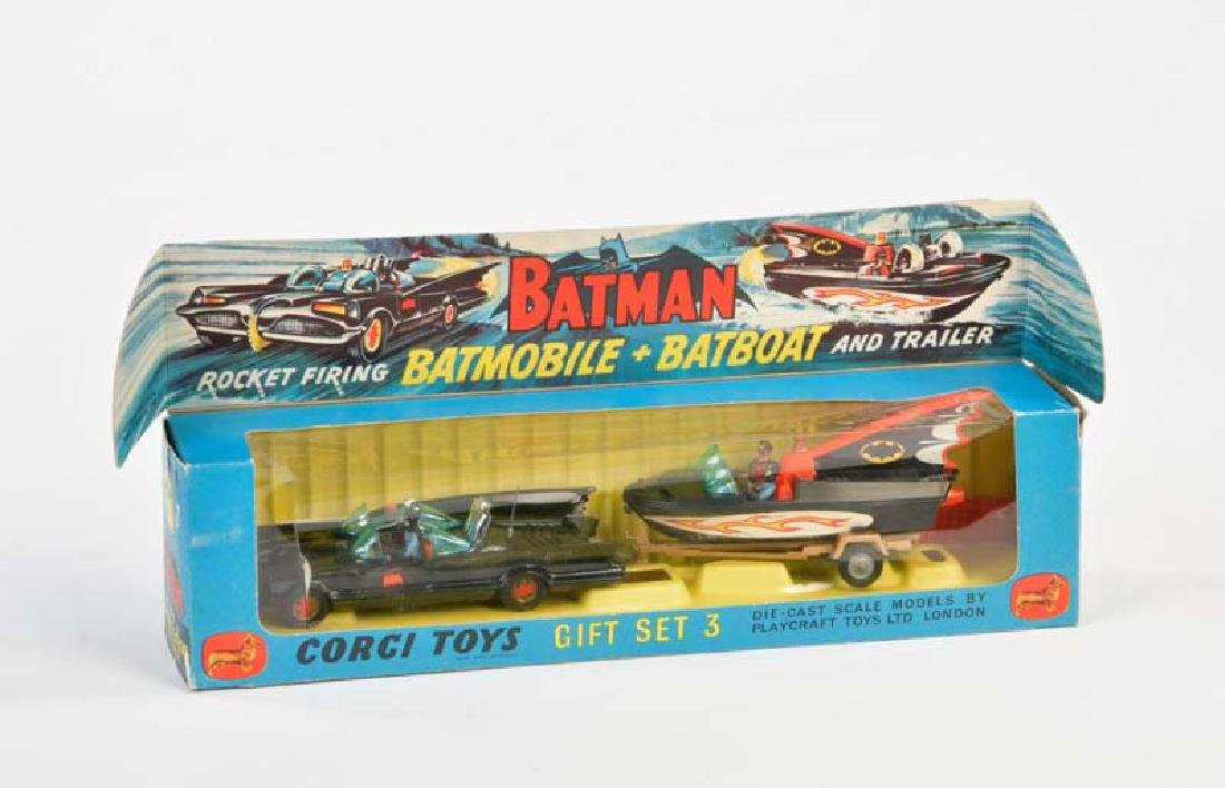 Corgi Toys, Batmobile + Batboat