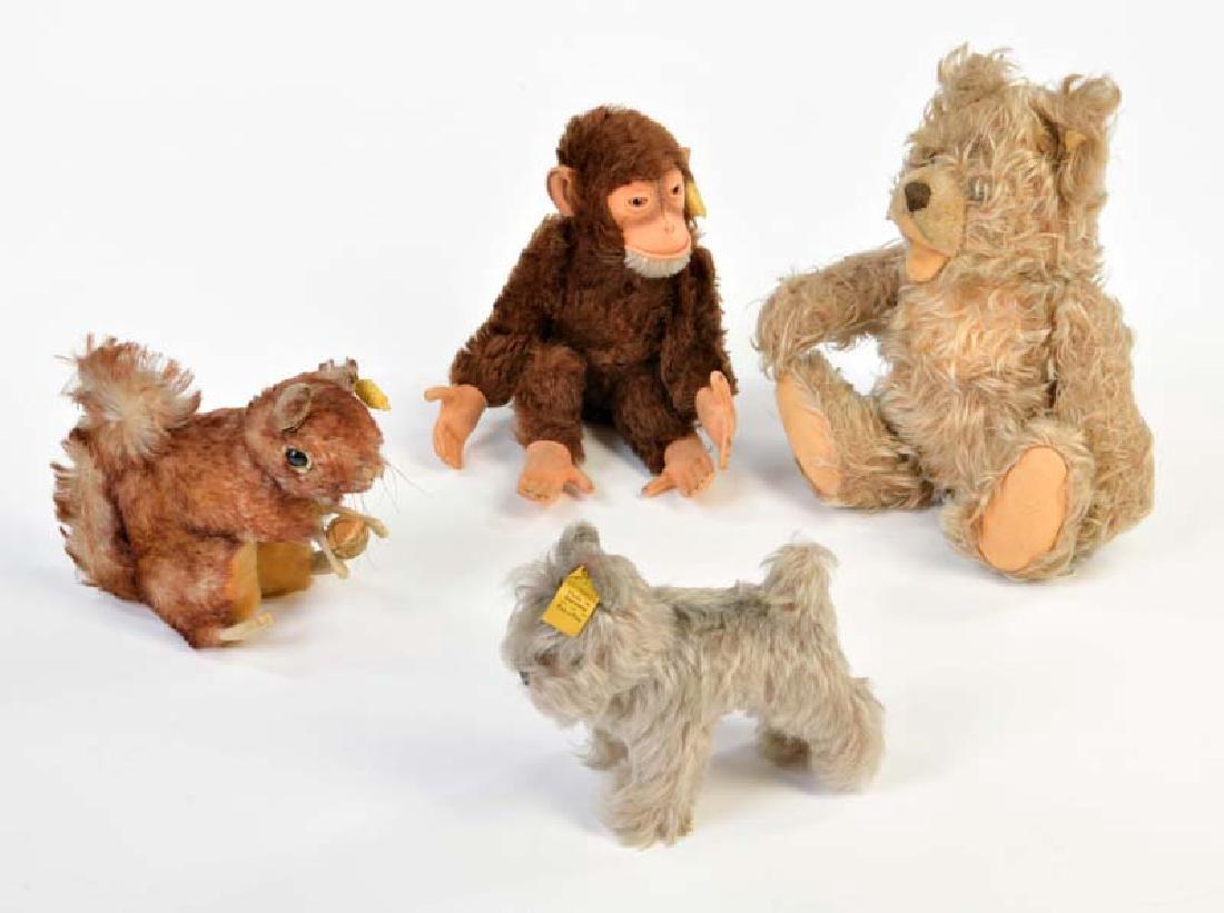 Steiff, Baer, Affe, Eichhoernchen + Hund