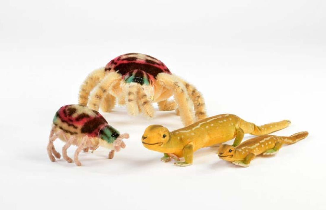 Steiff, 2 Spinnen + 2 Salamander