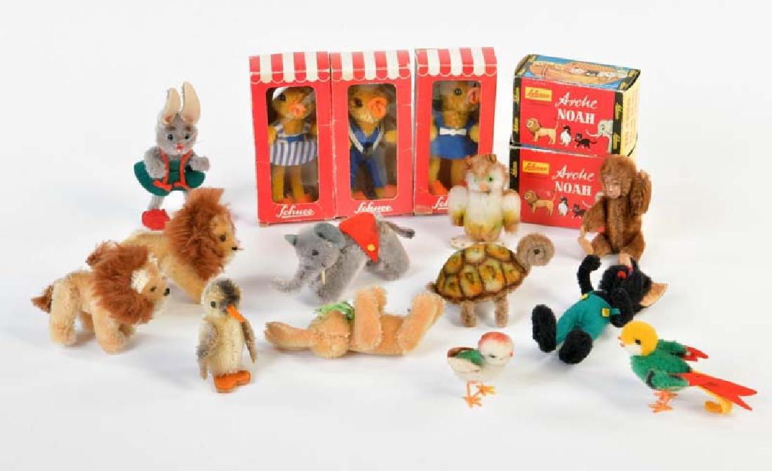 Schuco, 3 Mascot Figuren + 14 Tiere