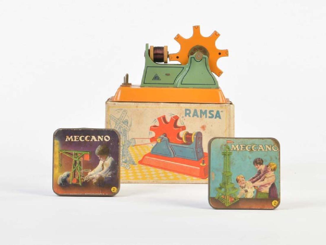 Ramsa, E-Motor + 2 Meccano Blechdosen