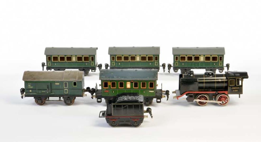 Marklin, Lok mit Tender + 5 Personenwagen