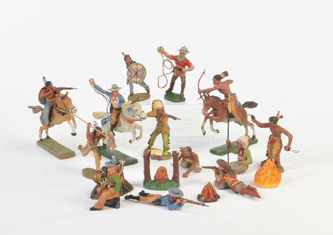 Elastolin, 15 Indianer + Cowboys + 2x Zubehoer