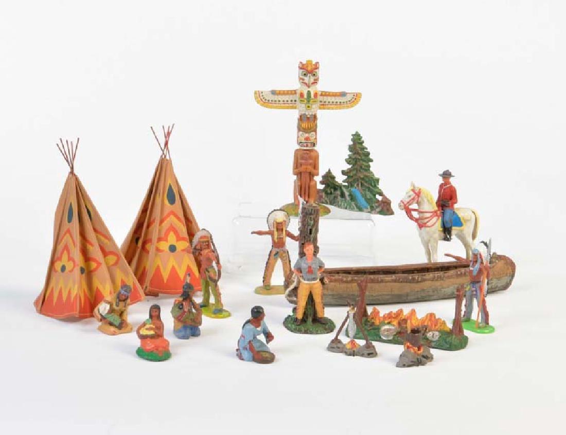 Elastolin u.a., Indianer, Cowboy + Zubehoer