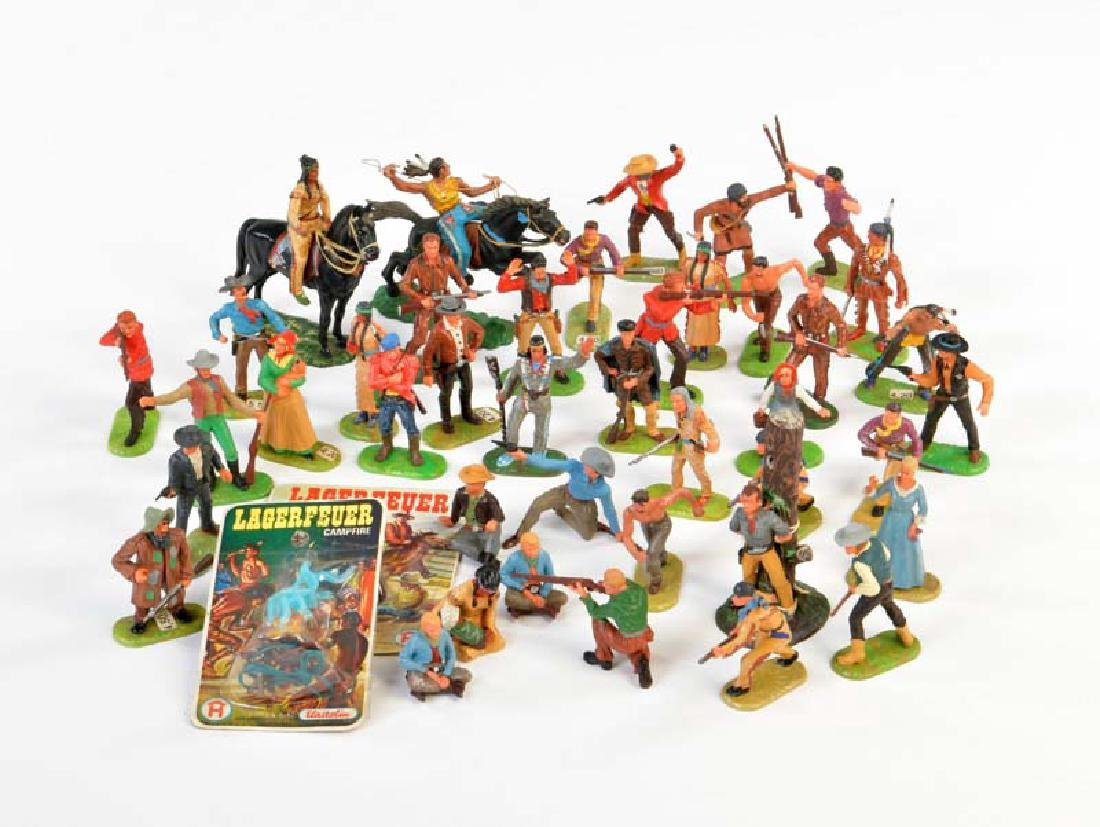 Elastolin, 40 Wild West Figuren + 2 Lagerfeuer