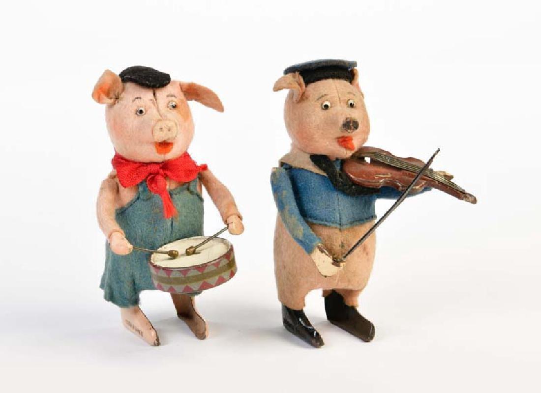 Schuco, Schwein mit Geige + Schwein mit Trommel