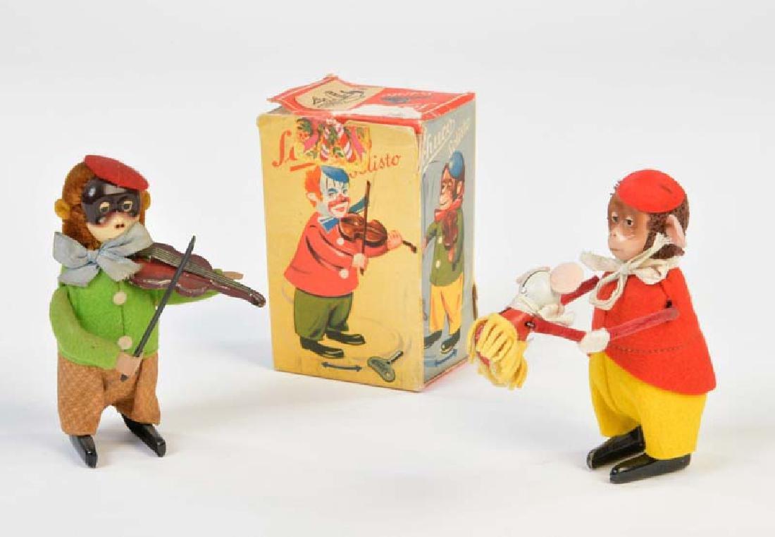 Schuco, Affe mit Geige + Affe mit Maus