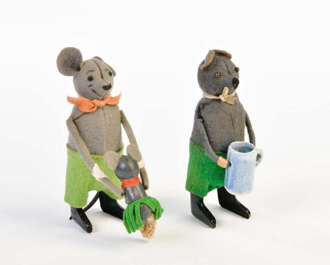 Schuco, Maus mit Kind + Maus mit Krug