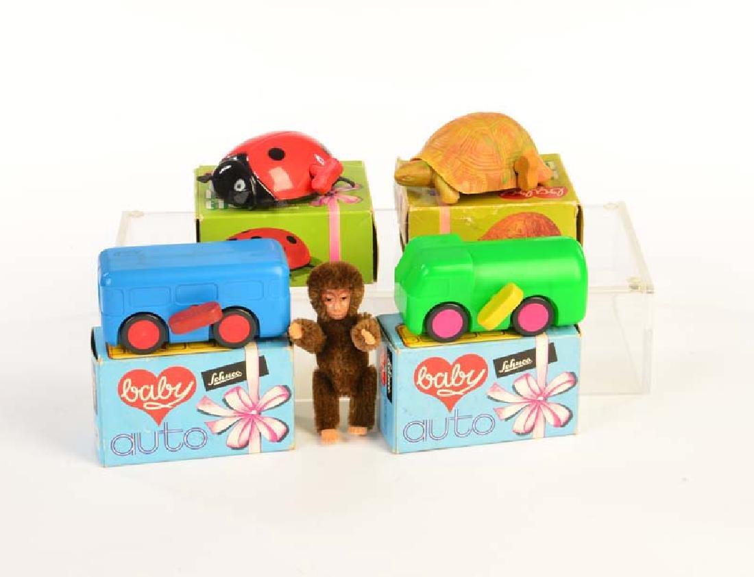 Schuco, Baby Autos, Lauftier + Affe