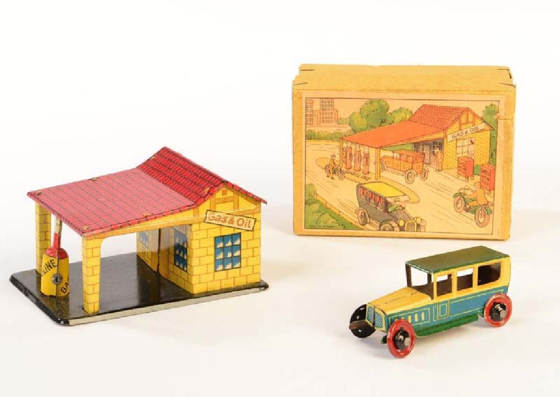 Distler, Pennytoy Tankstelle mit Limousine