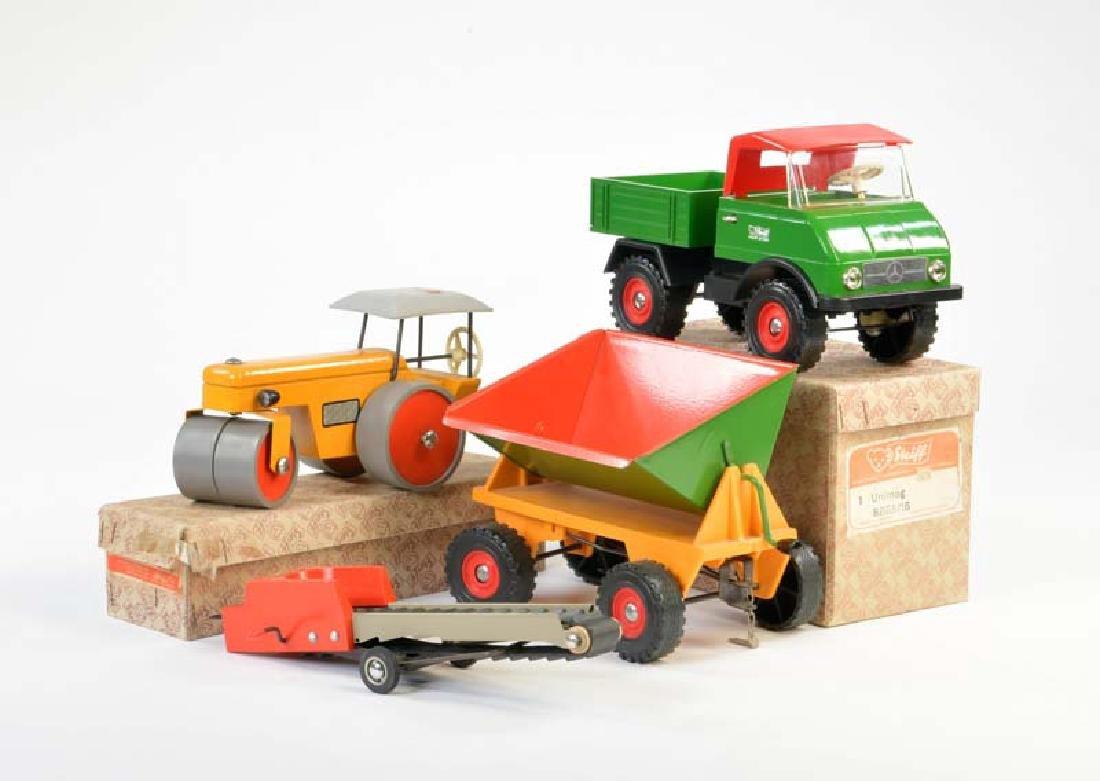 Steiff, Konvolut Fahrzeuge (Unimog + Anhaenger,