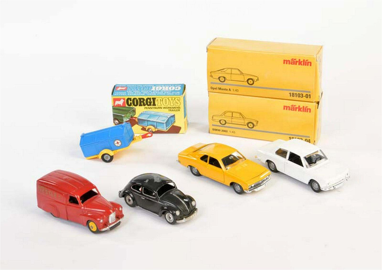 Dinky, Corgi, Maerklin: 4 Autos + 1 Anhaenger