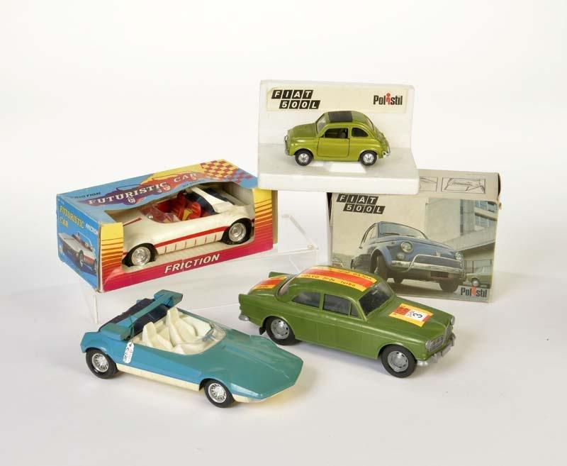 Marx, Polistil u.a., 4 Auto Modelle