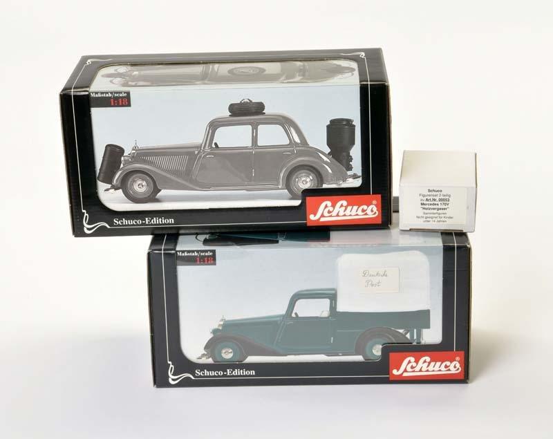 Schuco, Postwagen + Mercedes Limousine mit Holzvergaser