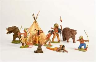 Lineol, Elastolin, 6 Indianer, 3 Baeren + Zelt