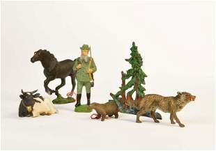 Elastolin, Lineol, Jaeger, Wolf, Pferd, Kuh, Faultier +
