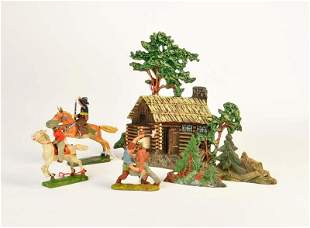 Elastolin, Lineol, Blockhaus, 3 Cowboys + 2 Bäume