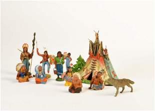 Lineol, Elastolin, 9 Indianer, Wolf + Zelt