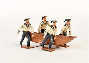Zinnfiguren, Matrosen mit Boot