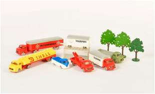 Lego, 5 LKW, 3 Baeume + VW Bus