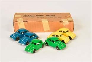 Hubley, 6 VW Kaefer Modelle in neutraler Haendlerbox