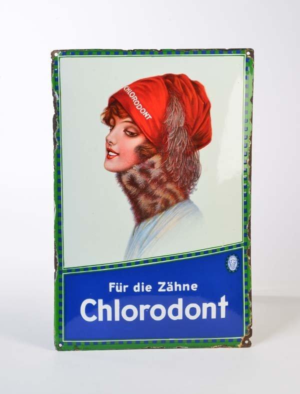 "Emailleschild ""Chlorodont"""