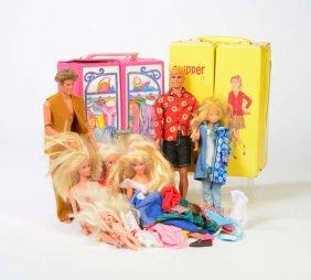 Konvolut Barbiepuppen, Skipper Puppen + Zubehoer