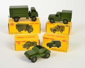 Dinky Toys, 3 Militaerfahrzeuge + Telephone Service Van