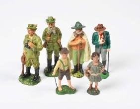 Elastolin u.a., 6 Figuren (2 Jaeger, Hirte + Kinder)