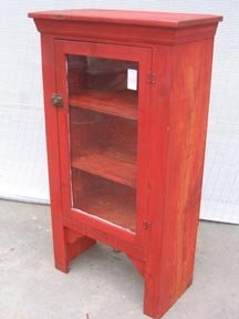 253: Vintage Painted Red Wooden Cabinet
