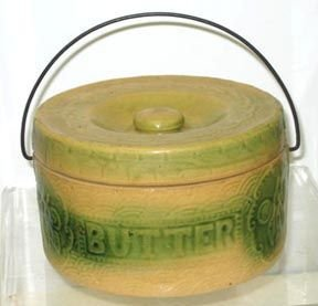 348: Yellow Ware Butter Crock Antique