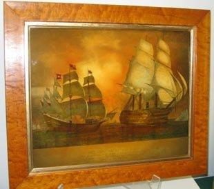 448: Nautical Art Reverse Painting Glass