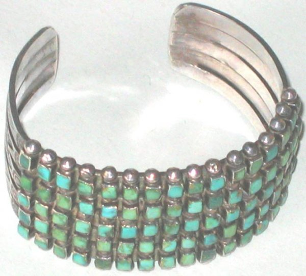 402: Turquoise Sterling Indian Bracelet