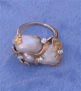 18k Gold Pearl Diamond Ring