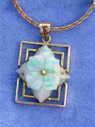 19th Cen Jade 14k Gold Pendant